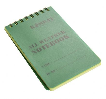 Kombat UK Mini Waterproof Notepad Green